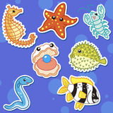 Cute sea animal stickers05 Royalty Free Stock Photos