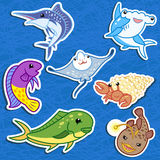 Cute sea animal stickers06 Stock Images