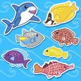 Cute sea animal stickers07. Cute seven sea animal stickers Royalty Free Stock Photo