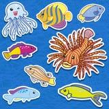 Cute sea animal stickers09 Stock Photos