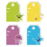 Cute sea animals cartoon illustration for birthday gift tag design royalty free illustration