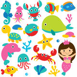 Cute sea animals clip art set Stock Images