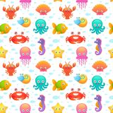 Cute sea animals seamless pattern Royalty Free Stock Image
