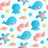Cute sea animals seamless vector background. Royalty Free Stock Photo