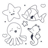 Cute sea characters coloring book. Coloring book illustration Cute sea characters Stock Image