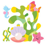 Cute sea characters composition Royalty Free Stock Photo