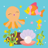 Cute sea characters Stock Photography