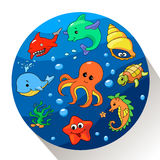 Cute sea creatures set. Vector illustration. Of Marin life stock illustration