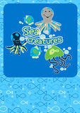 Cute sea creatures. Vector illustration a some underwater creatures with a repeat pattern Royalty Free Stock Photos
