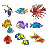 Cute sea fishes coloring page Royalty Free Stock Photos