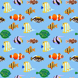 Cute sea fishes seamless pattern. Stock Image