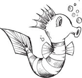 Cute Sea Horse Sketch Royalty Free Stock Photo