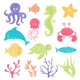 Cute Sea Life Creatures. Illustration of Cute Sea Life Creatures Stock Image