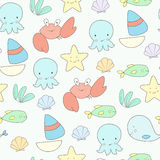 Cute sea life seamless vector background Stock Photos