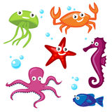 Cute Sea Monsters. Six Cute Colorful Cartoon Sea Monsters Royalty Free Stock Images