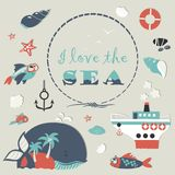 Cute sea objects collection Royalty Free Stock Photo