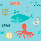 Cute sea and sail pattern Stock Photos