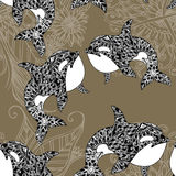 Cute sea seamless pattern. Funny seamless pattern with whale. underwater sea life Stock Photo