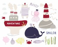 Cute Sea Set With Bear Sailor Royalty Free Stock Images