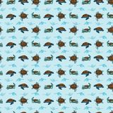 Cute sea turtle group grid cartoon seamless vector pattern. Hand drawn endangered ocean life tile. All over print for animal conservation blog, nautical stock illustration