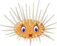 Cute sea urchin cartoon smiling