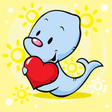 Cute seal holding heart - cartoon Stock Photography