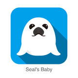 Cute seal's baby flat icon design, vector illustration. Cute seal's baby flat icon design, vector Stock Photos