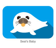 Cute seal's baby flat icon, vector illustration Royalty Free Stock Image