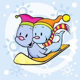 Cute seal on snowboard. Funny cartoon illustration Stock Images