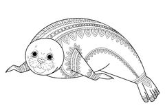 Cute seal Zentangle vector. Phoca Zen Tangle. Wild animals coloring book for adult. Royalty Free Stock Photo
