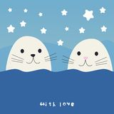 Cute seals cartoon  illustration Royalty Free Stock Photos