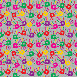 Cute seamless abstract pattern with prints of multi-colored palm. Cute seamless abstract pattern with a prints of multi-colored palms Vector Illustration