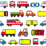 Cute seamless background with cartoon cars. Transport pattern Stock Photo