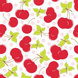 Cute seamless background with cherry Stock Photo