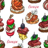 Seamless different canapes Royalty Free Stock Images