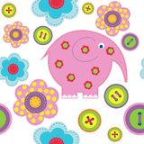 Cute seamless background with elephant buttons and flowers. Cute seamless background with a elephant buttons and flowers royalty free illustration