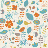 Cute seamless background. With flowers and birds in cartoon style Royalty Free Stock Photography
