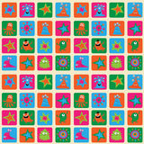 Cute seamless background with funny monsters and patterns Stock Photo