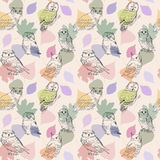 Cute seamless background with hand drawn owls Stock Image