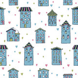 Cute seamless background with houses. Home sweet home Royalty Free Stock Photos