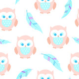 Cute seamless background with owls and feathers. Boho and cartoon style. Irregular Stock Photos