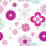 Cute seamless background pattern with pink flowers. Hearts and dots Stock Image