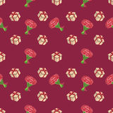 Cute seamless background patterns with flowers and gift boxes. Pattern seamless vector illustration. Concept background picture Stock Photography