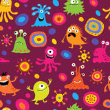 Cute seamless background with patterns and monsters Royalty Free Stock Images
