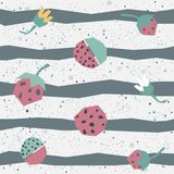 Cute Seamless background with strawberry Stock Photos