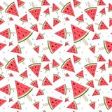 Cute seamless background with watermelon slices. Watermelon on a stick. Summer time. Vector stock images