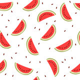Cute seamless background with watermelon slices Stock Photos