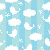 Cute Seamless Blue Background. With bird, clound and flower pattern Stock Illustration