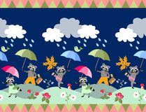 Cute seamless border with fairy tale raccoons and umbrellas. Unique vector illustration for baby vector illustration