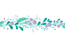 Cute seamless border with hand-drawn floral elements and branches. Stylish simple design. Vector illustration. Royalty Free Stock Photo